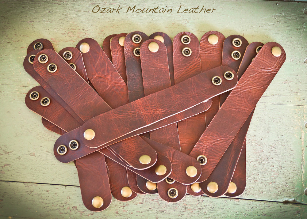 Bison leather cuff bracelet in once inch.  Adjustable snap closure makes great gift item.