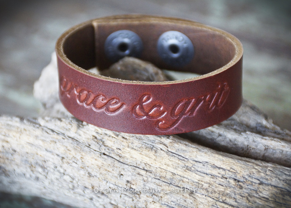Grace & Grit burgundy colored leather bracelet or cuff.  Has adjustable snap closure so fits almost any wrist.