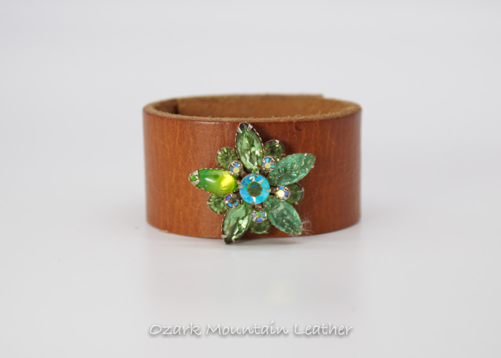 Green vintage rhinestones on brown leather cuff