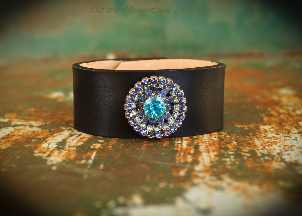 Blue vintage rhinestones on black leather cuff