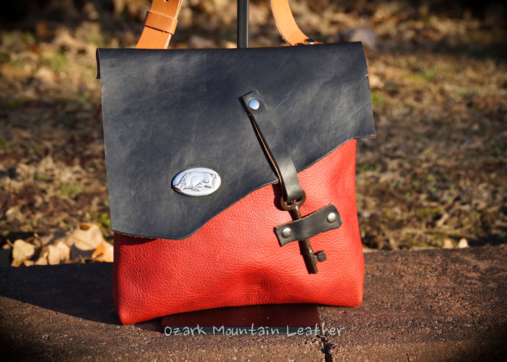 Razorback crossbody leather bag handmade by Ozark Mountain Leather.  One of a kind.