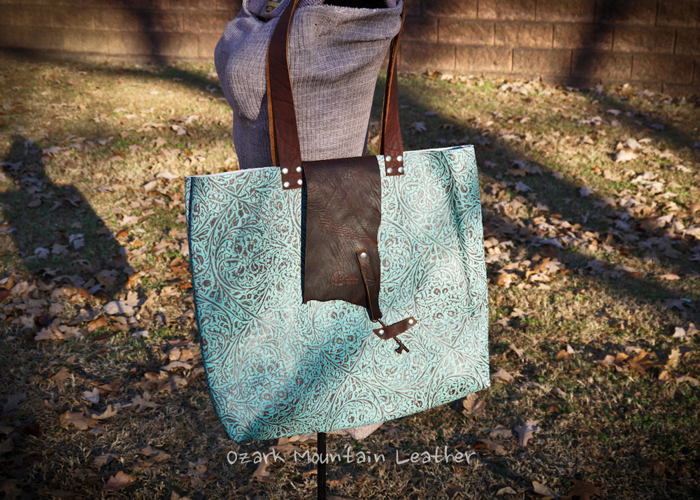 Turquoise and Bison Leather Tote or bag with Skeleton Key Closure