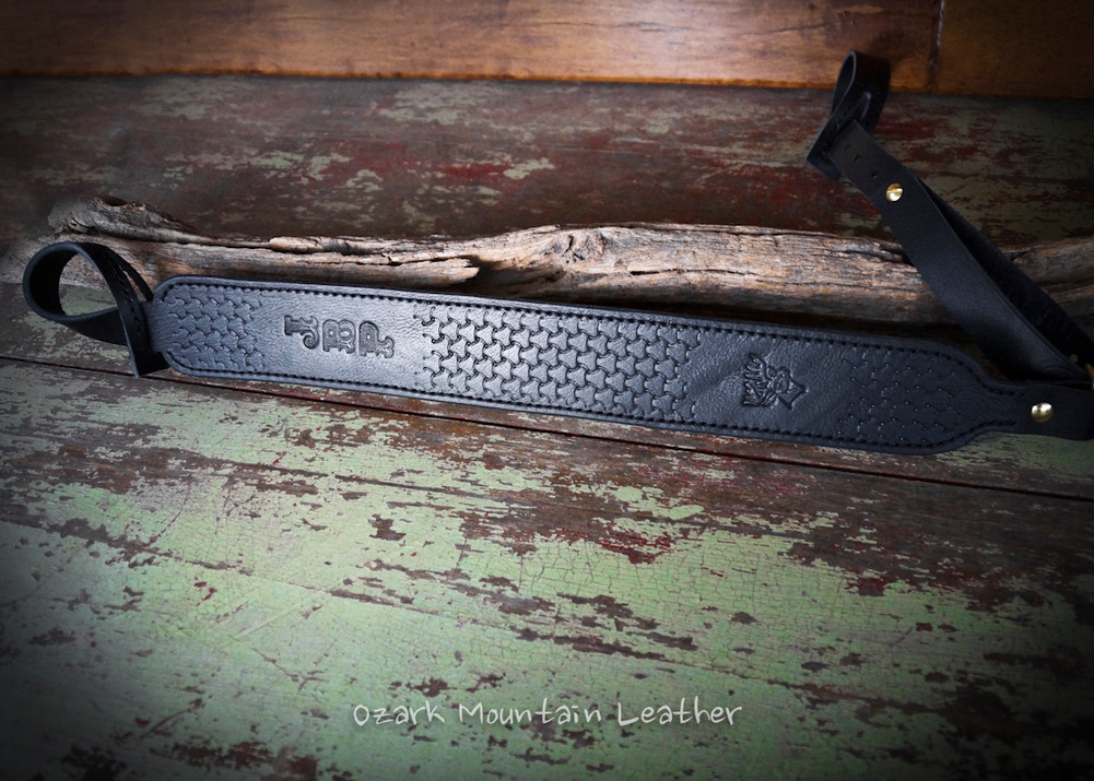 Custom leather shot gun rifle sling in black.  Can be personalized with name or initials and also a custom stamp option.