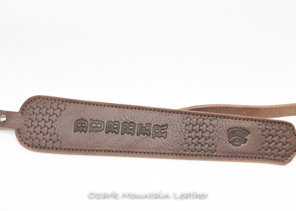 Custom Leather Rifle Sling  with tooling COBRA style in CHOCOLATE BROWN