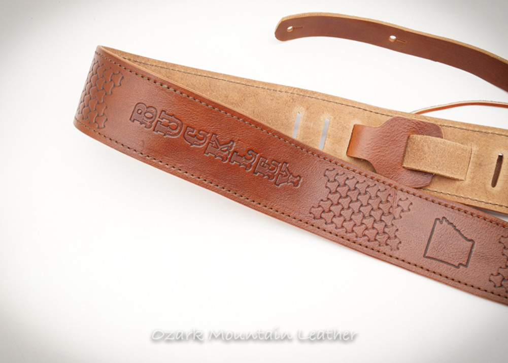 Custom leather guitar strap by Ozark Mountain Leather