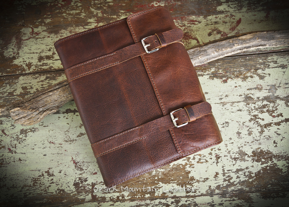 Bison Leather Bible or Book Cover with two Buckle Strap Closure Side Flap .