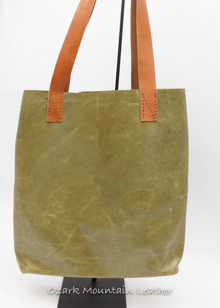 Olive green leather tote bag.
