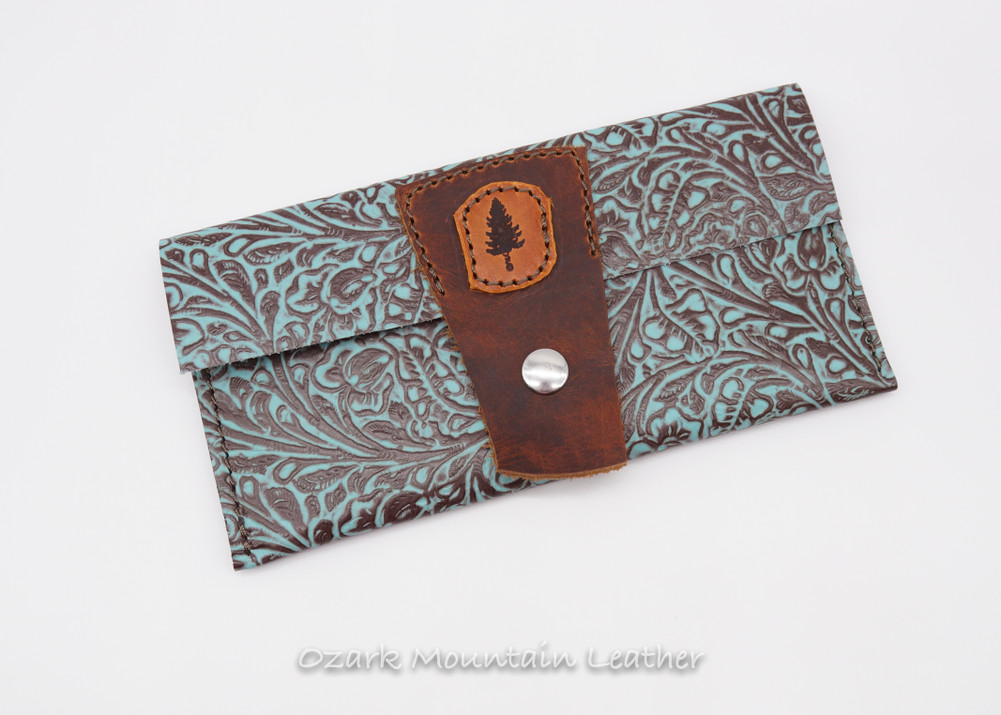 Bison and Turquoise leather wallet.  Cash wallet for cards and cash.  All leather women's wallet