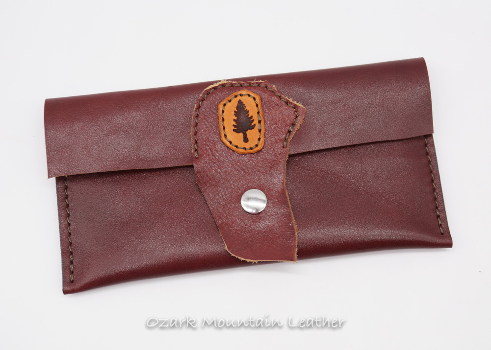 Burgundy leather card wallet clutch (ready to ship)