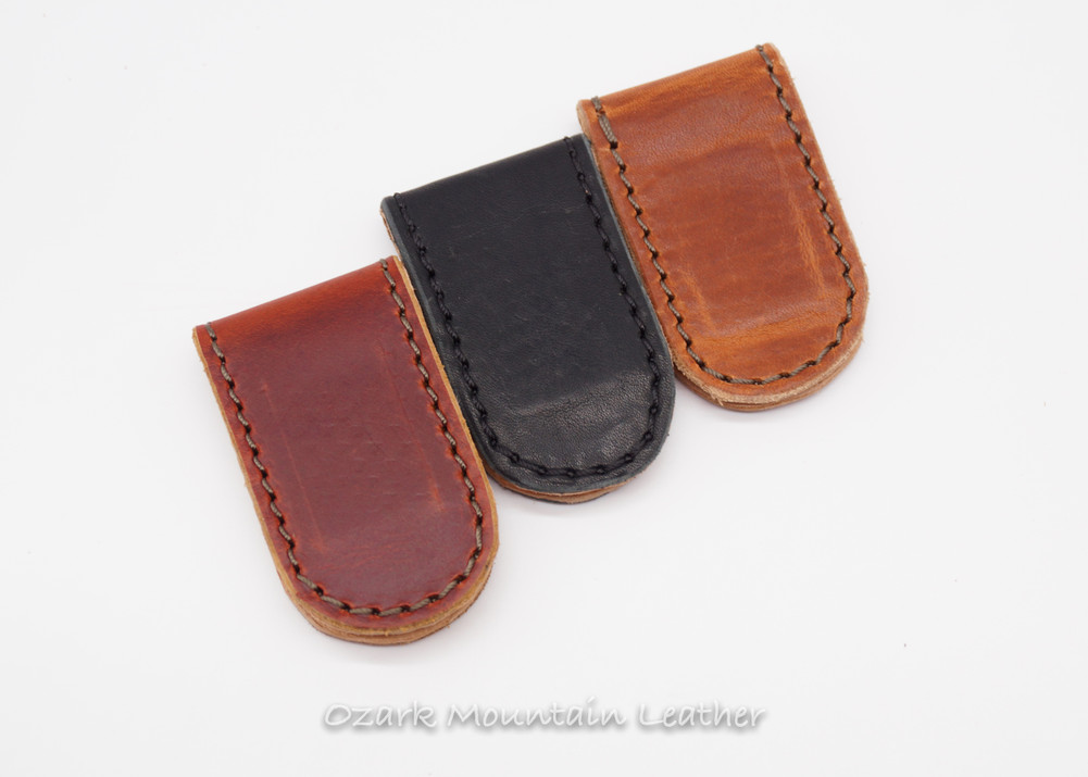 Strong leather magnetic money clip available in Burgundy, Black and Tan Horween leather.  Handmade in the USA