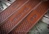Hand tooled custom leather rifle sling with name or initials in brown. Personalized with name or initials leather rifle sling makes a great gift.