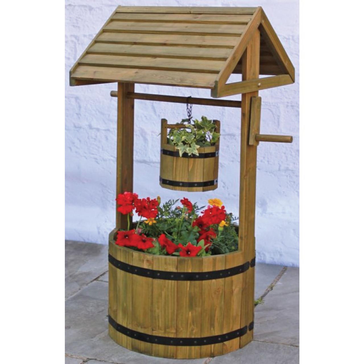 Wooden Wishing Well Planter Mr Middleton Garden Shop
