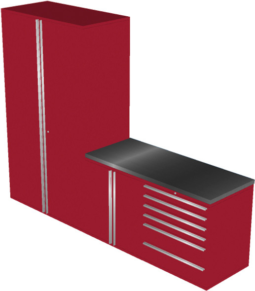Piece Red Garage Cabinet Set (4013)