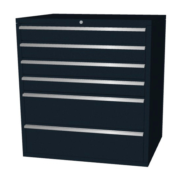 Saber black 6 drawer base cabinet