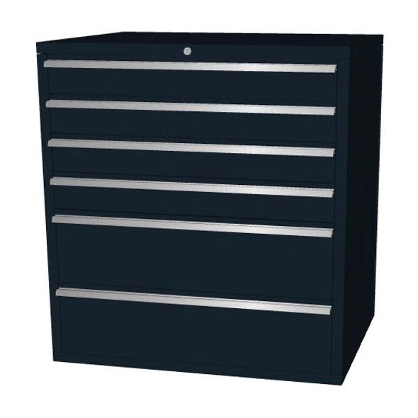 Saber black 6 drawer base cabinet