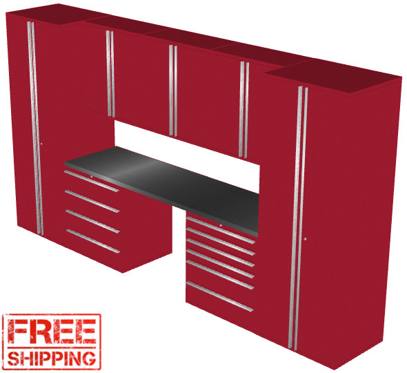 Saber 8-Piece Red Garage Cabinet Set (8012)