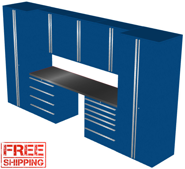 Saber 8-Piece Blue Garage Cabinet Set (8012)