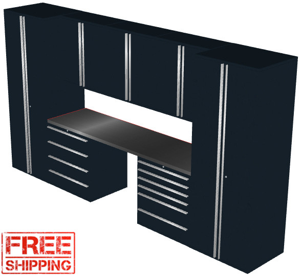 Saber 8-Piece Black Garage Cabinet Set (8012)