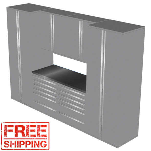 Saber 7-Piece Silver Garage Cabinet Set (7001)