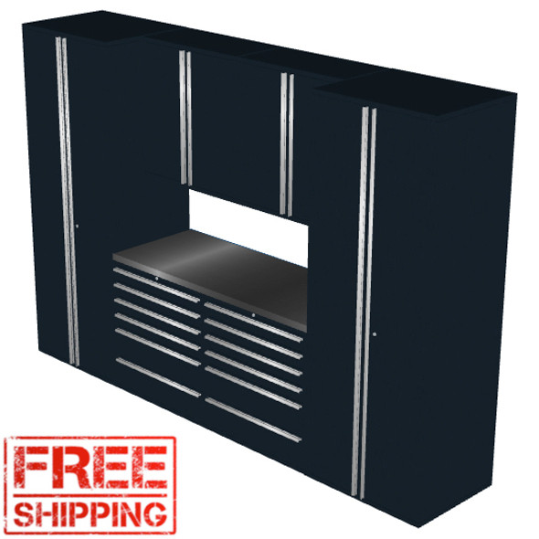 Saber 7-Piece Black Garage Cabinet Set (7001)