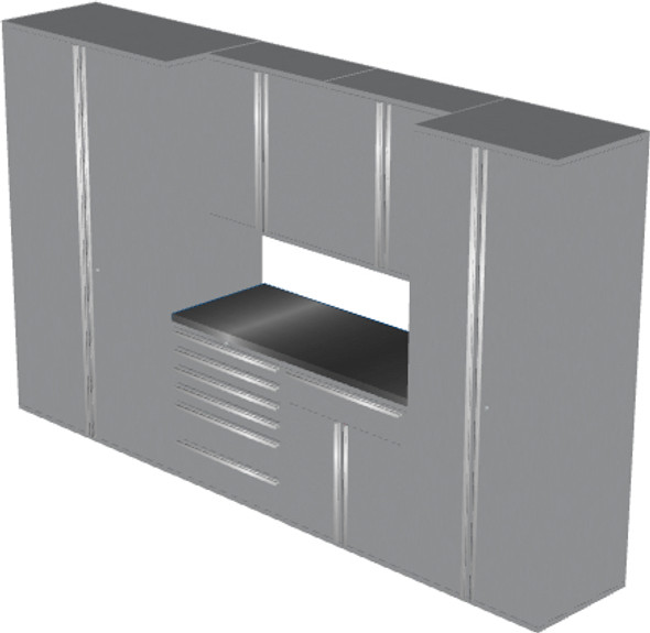 Saber 7-Piece Silver Garage Cabinet Set (7002)