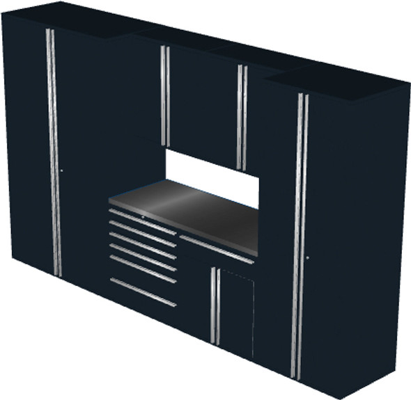 Saber 7-Piece Black Garage Cabinet Set (7002)