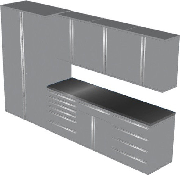 Saber 8-Piece Silver Garage Cabinet Set (8003)