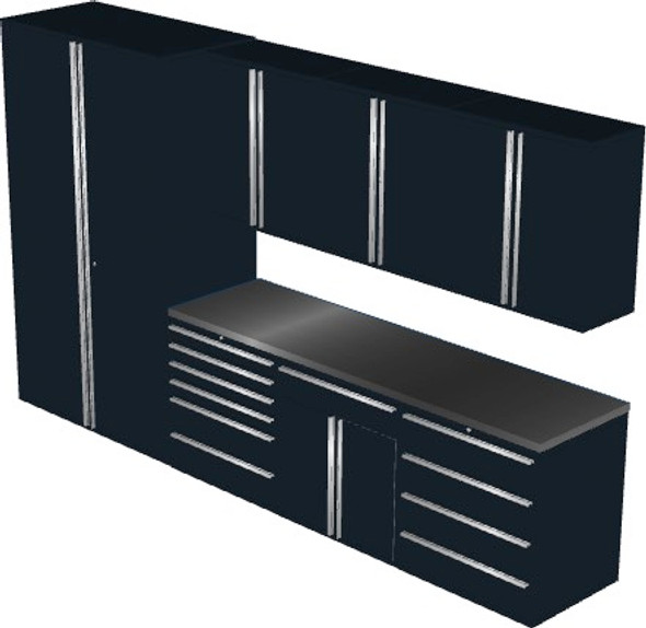 Saber 8-Piece Black Garage Cabinet Set (8003)