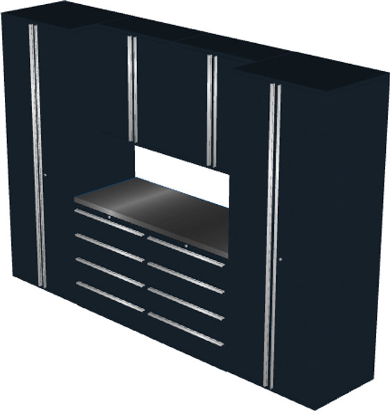 Saber 7-Piece Black Garage Cabinet Set (7004)
