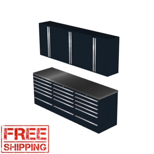 6-Piece Black Garage Cabinet Set (7020)
