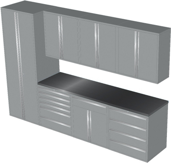 Saber 8-Piece Silver Garage Cabinet Set (8008)