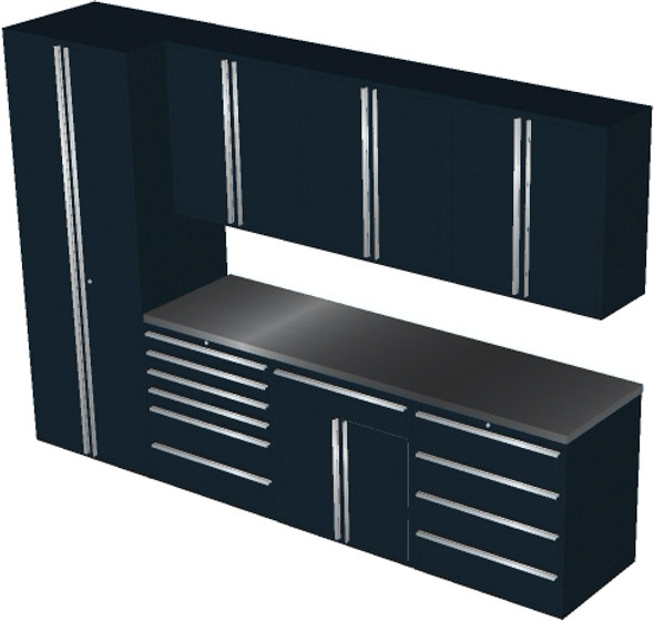 Saber 8-Piece Black Garage Cabinet Set (8008)
