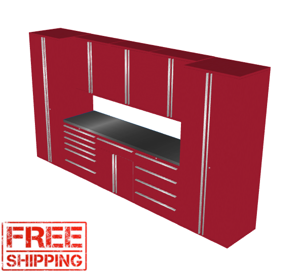 Saber 9-Piece Red Garage Cabinet Set (9005)