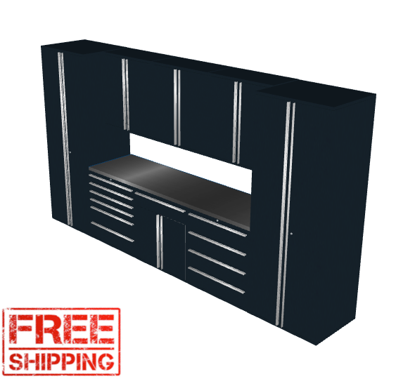 Saber 9-Piece Black Garage Cabinet Set (9005)