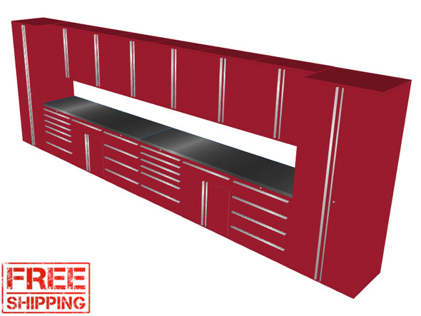 16-Piece Red Garage Cabinet Set (16003)