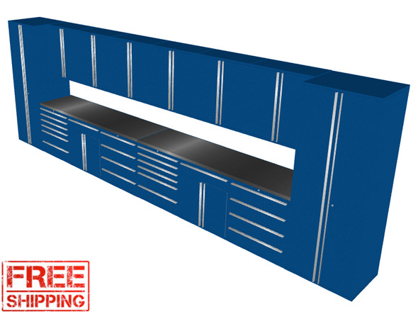 16-Piece Blue Garage Cabinet Set (16003)