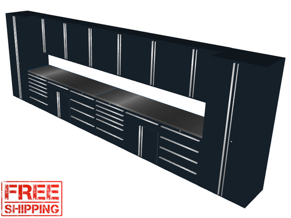 16-Piece Black Garage Cabinet Set (16003)