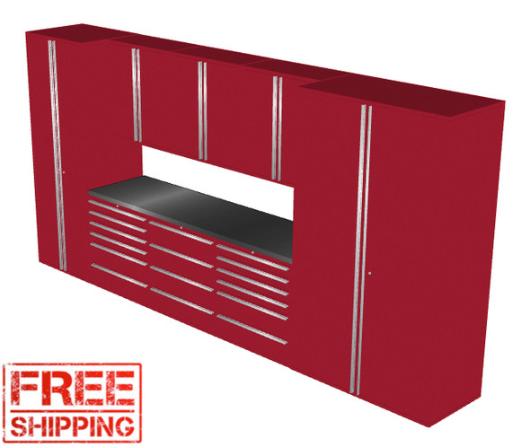 Saber 9-Piece Red Garage Cabinet Set (9009)