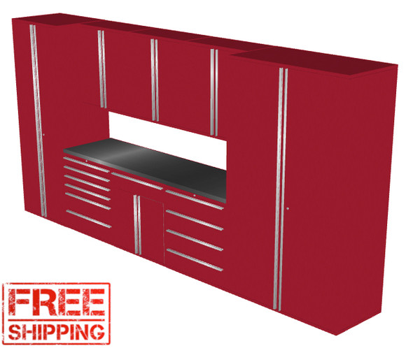 Saber 9-Piece Red Garage Cabinet Set (9010)