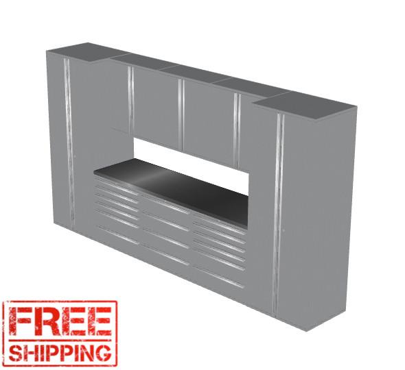 Saber 9-Piece Silver Garage Cabinet Set (9002)