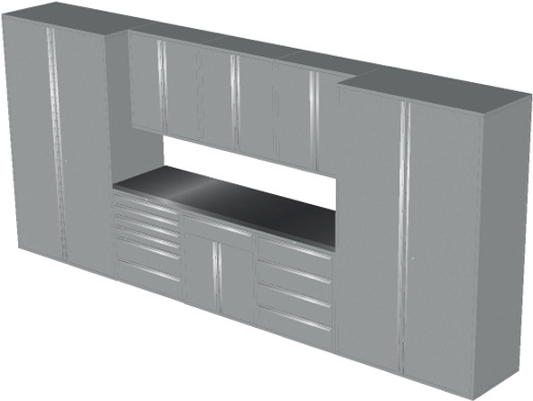 Saber 9-Piece Silver Garage Cabinet Set (9012)