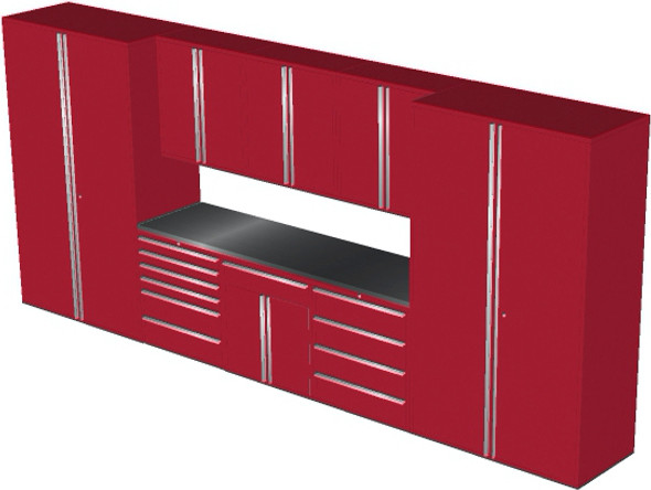Saber 9-Piece Red Garage Cabinet Set (9012)
