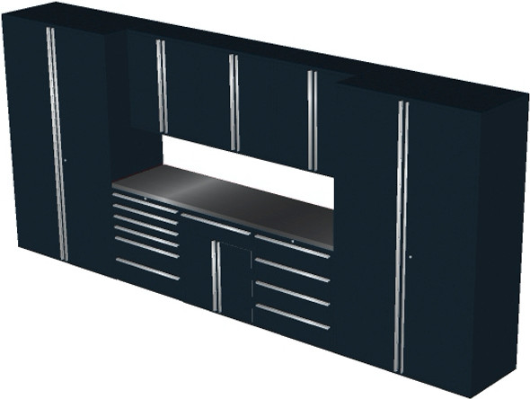 Saber 9-Piece Black Garage Cabinet Set (9012)
