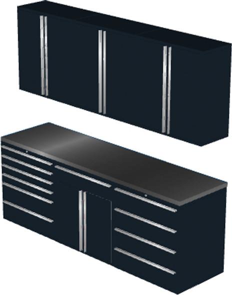 7-Piece Black Garage Cabinet Set (7021)