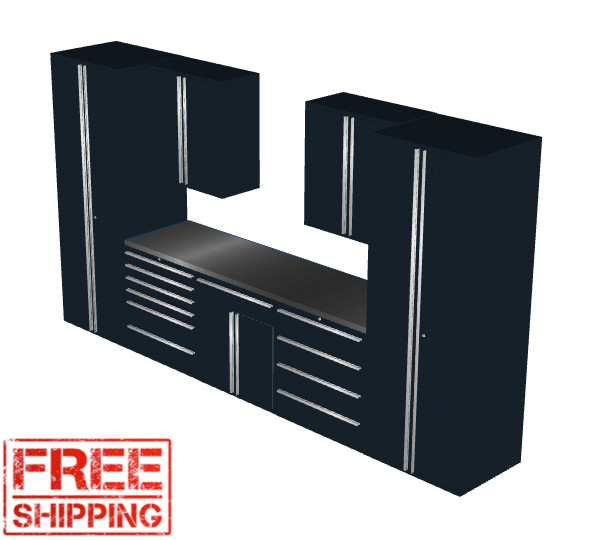 Saber 8030 black garage cabinet set