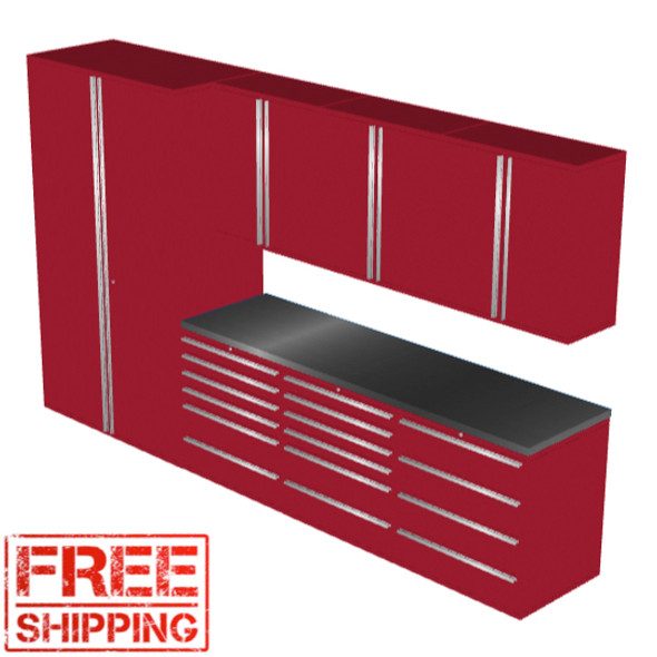 Saber 8010 red garage cabinet set