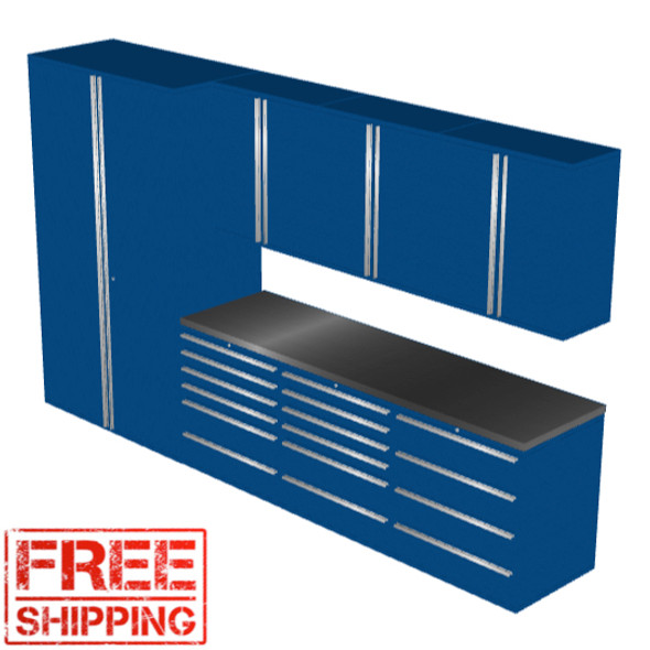 Saber 8010 blue garage cabinet set