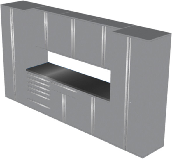 Saber 9-Piece Silver Garage Cabinet Set (9013)