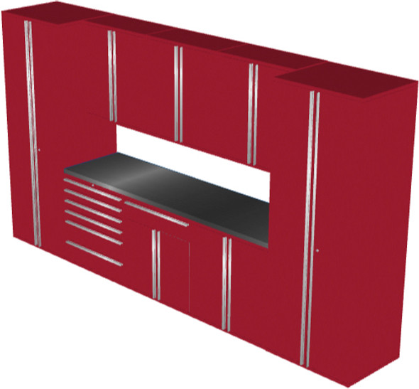 Saber 9-Piece Red Garage Cabinet Set (9013)