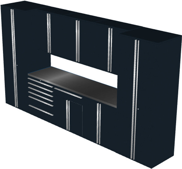 Saber 9-Piece Black Garage Cabinet Set (9013)